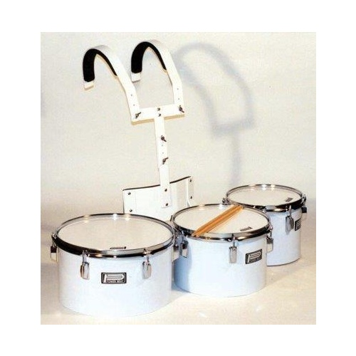 08/10/12 INCH MARCHING DRUMSET W/HARNESS SILVER