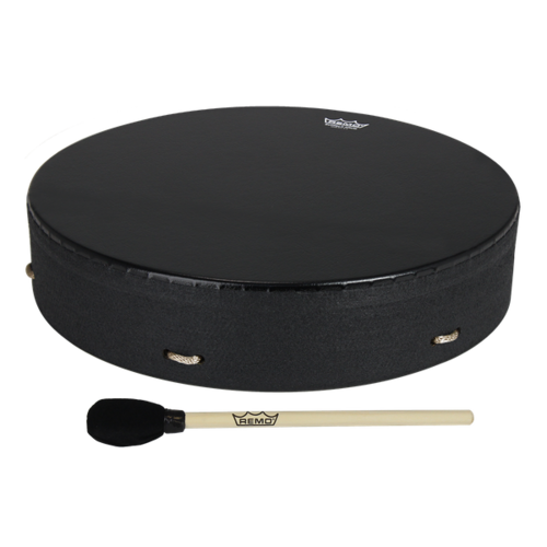 "Remo Bahia Buffalo Drum 16"" x 3.5"" Fixed Bahia Bass - Black Earth"