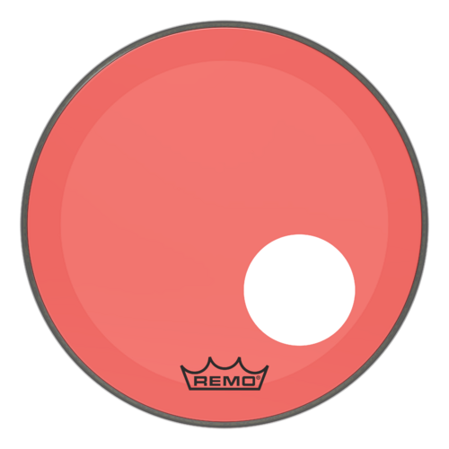 "Powerstroke® P3 Colortone™ Red Bass Drumhead, 18"", 5"" Offset Hole"
