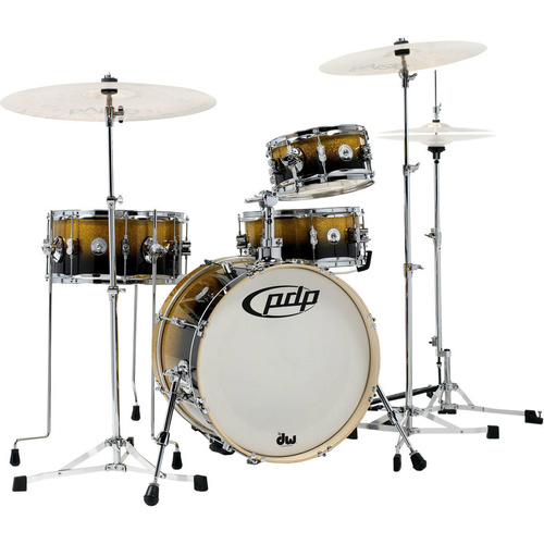 PDP Daru Jones 'New Yorker' Compact Drum Kit w/ Hardware - Yellow/Black Sparkle Fade