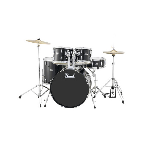 Pearl Road Show 20Inch 5-Pcs Fusion Drum Kit W/Hardware & Cymbals Jet Black