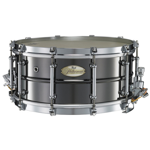 "Pearl 14"" x 6.5"" Philharmonic Beaded Brass Snare Drum - Glossy Black Nickel Finish"