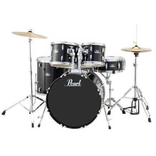 "Roadshow Fusion 22"" 5pc Plus Drum Kit W/ Hardware, Throne, Planet Z Cymbal Pack & Zildjian Artist Drumsticks - Jet Black"